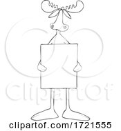 Cartoon Black And White Moose Holding A Protest Sign