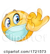 Poster, Art Print Of Emoji Smiley Emoticon Gesturing Ok And Wearing A Mask