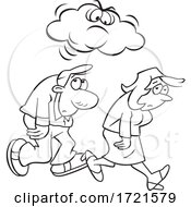 Cartoon Black And White Man And Woman Under A Grumpy Or Angry Cloud