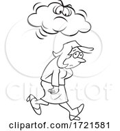 Cartoon Black And White Woman Under A Grumpy Or Angry Cloud