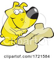 Cartoon Dog And Giant Bone Biscuit