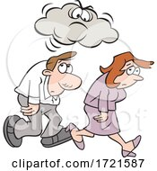 Poster, Art Print Of Cartoon Man And Woman Under A Grumpy Or Angry Cloud