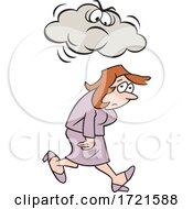Cartoon Woman Under A Grumpy Or Angry Cloud