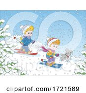 Poster, Art Print Of Children Playing In The Snow