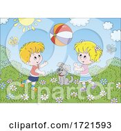 Poster, Art Print Of Children Playing With A Ball