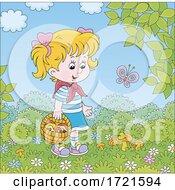Little Girl Mushroom Picking
