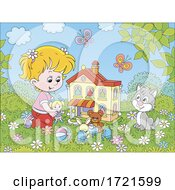 Poster, Art Print Of Girl Playing With A Doll House