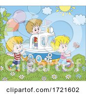 Poster, Art Print Of Children Playing On A Boat