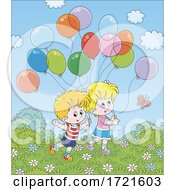 Poster, Art Print Of Children Playing With Balloons