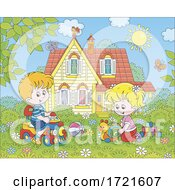 Poster, Art Print Of Children Playing In A Yard