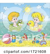 Poster, Art Print Of Children Playing At A Beach
