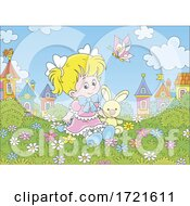 Poster, Art Print Of Little Girl Playing Outside