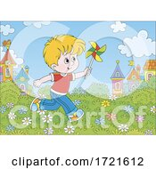 Poster, Art Print Of Boy Playing With A Pinwheel