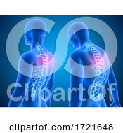 3D Medical Background Showing Good And Poor Posture With Spine Highlighted