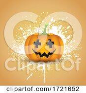 Halloween Pumpkin On A Grunge Splatter Background