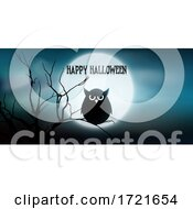 Halloween Banner With Owl And Tree Against Moon