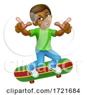 Poster, Art Print Of Child Skateboarding Boy Kid Cartoon