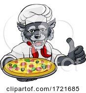 Poster, Art Print Of Wolf Pizza Chef Cartoon Restaurant Mascot Sign