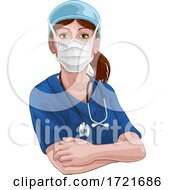 Doctor Or Nurse Woman In Medical Scrubs Unifrom by AtStockIllustration