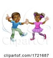 Poster, Art Print Of Black Girl And Boy Cartoon Kid Children Dancing