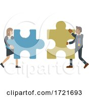 Puzzle Piece Jigsaw Characters Business Concept