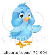 Poster, Art Print Of Blue Bluebird Baby Bird Cartoon Pointing