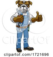 Poster, Art Print Of Bulldog Electrician Handyman Holding Screwdriver