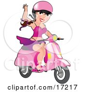 Sexy Long Haired Burnette Caucasian Woman With Her Skirt Blowing Up To Show Her Panties While Waving And Driving Her Pink Vespa Scooter Clipart Illustration