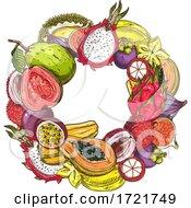 Border Of Tropical Fruit