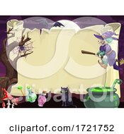 Poster, Art Print Of Scroll Bordered With Halloween Icons