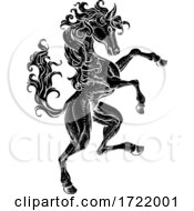 Horse Rearing Rampant Crest Coat Of Arms Style