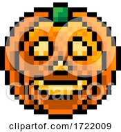 Halloween Pumpkin Lantern Pixel Art Game Icon