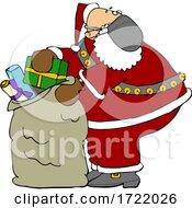 Cartoon Covid Santa Packing His Sack