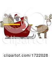 Cartoon Covid Santa And Masked Reindeer