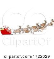 Cartoon Covid Santa Flying His Sleigh