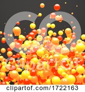 3d Red Orange And Yellow Cloud Of Random Size Spheres