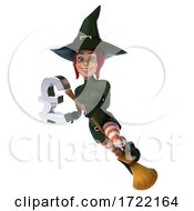 3d Green Witch On A White Background