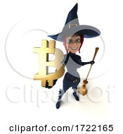 3d Sexy Blue Witch Holding A Bitcoin Symbol On A White Background