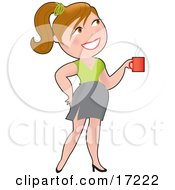 Pretty Caucasian Woman With Her Hair Up In A Pony Tail Smiling While Drinking A Cup Of Coffee Clipart Illustration