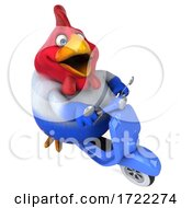 Poster, Art Print Of 3d Chubby French Chicken Riding A Scooter On A White Background