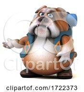Poster, Art Print Of 3d Bulldog Backpacker On A White Background