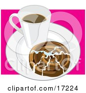 Mug Of Hot Coffee And A Cinnamon Bun Topped With Icing On A White Saucer Clipart Illustration