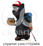 Poster, Art Print Of 3d Black Bear Hiker On A White Background