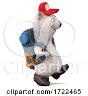 Poster, Art Print Of 3d Polar Bear Hiker On A White Background