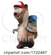 Poster, Art Print Of 3d Brown Bear Hiker On A White Background
