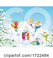 Poster, Art Print Of Children Playing On A Winter Day