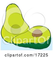 Halved Green Avocado With A Seed In The Middle Clipart Illustration