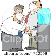 Cartoon Business Men Wearing Masks At The Office Water Cooler