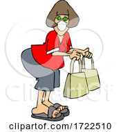 Cartoon Lady Wearing A Covid Mask While Shopping
