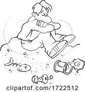 Cartoon Guy Down In The Dumps